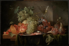 Still life of fruit with a wine glass