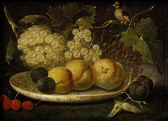 Still-life (Peaches, Grapes, Cherries, Bee & Bird)