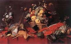 Still-Life with a Basket of Fruit, a Squirrel, and a Cat