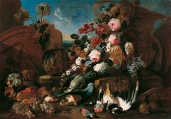 Stillleben mit Blumen, toten Vögeln und Ruinenstücken