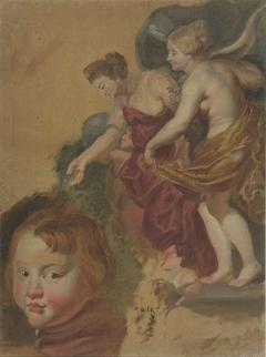 Studieblad met Maria dei Medici's gelukkige regering, een jongenskopje en twee manskoppen.
