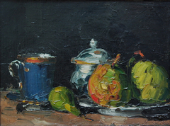 Sucrier, poires et tasse bleue