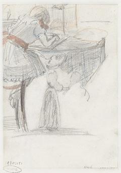 Tekenend meisje en vrouw met een tennisracket