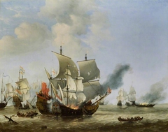 The Burning of the 'Andrew' at the Battle of Scheveningen