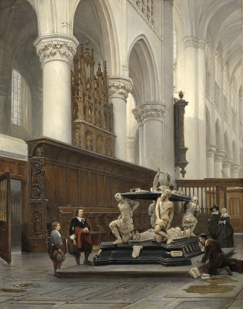 The Choir of the O.L.-Vrouwekerk in Breda with the Tomb of Engelbert II of Nassau