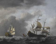 The 'Golden Leeuw' at Sea in Heavy Weather