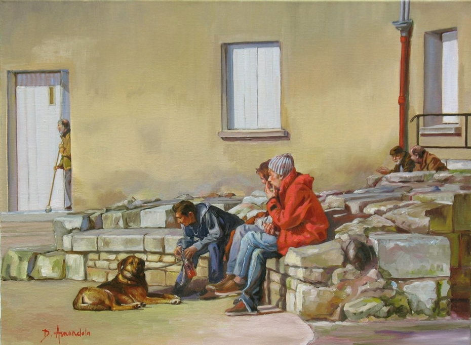 Three guys with a dog