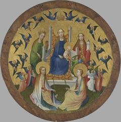 Thronende Maria mit Kind, vier hll. Jungfrauen Katharina, Agnes, Apollonia und Barbara und musizierenden Engeln