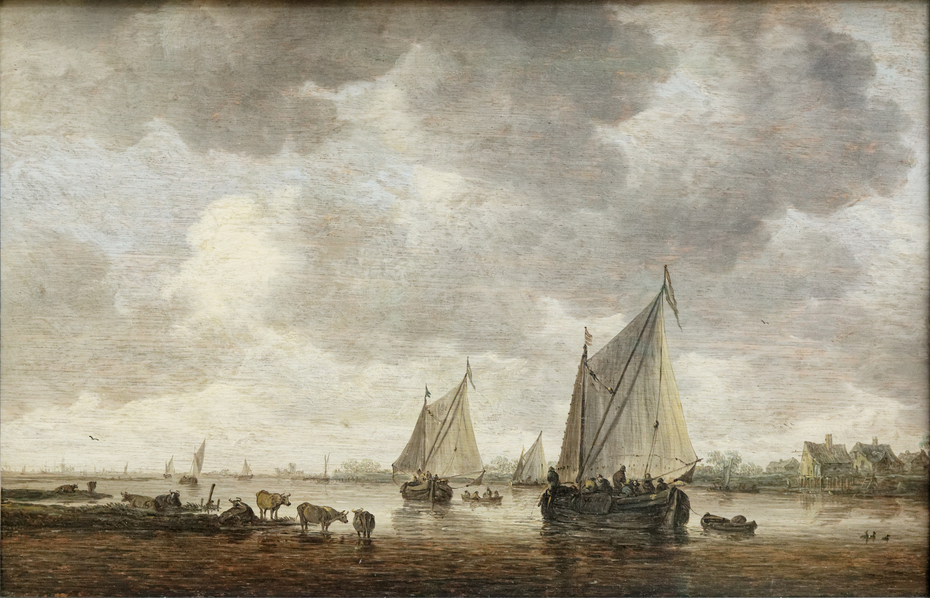 Two Sailboats on a River with Cattle on the Riverbank