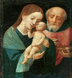 Holy Family with St. Joseph holding a bowl.