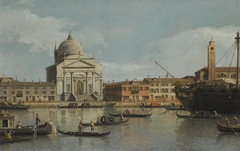 Venice, a view of the Churches of the Redentore and San Giacomo, with a moored Man-of-war, Gondolas and Barges