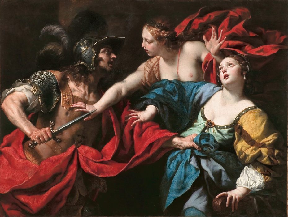 Venus preventing her son Aeneas from killing Helen of Troy