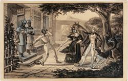 Viel esclave nègre, bathu par sa maitresse par maletendu le Voyageur, son cheval et son chien Fingal