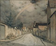 Village Street with a Rainbow