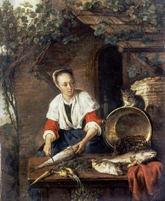 Woman Cleaning a Fish, with a Cat