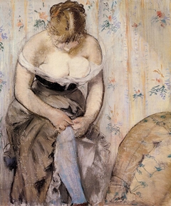 Woman Fastening Her Garter