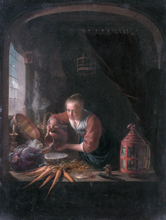 Woman Pouring Water into a  Bowl