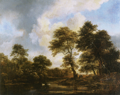 Wooded landscape with swans in a pond