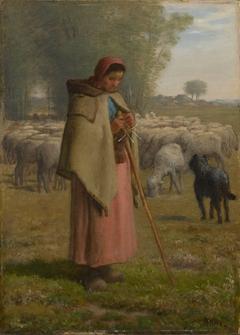 Young Girl Guarding her Sheep