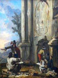 Zeichner in römischen Ruinen
