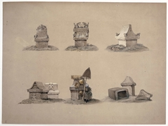 Zeven sarcofagen (waruga), Minahasalanden, Noord-Celebes
