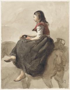 Zittende vrouw op een paard met twee kannen
