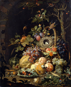 A  bird's nest in a fruit basket