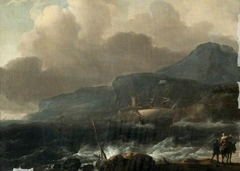 A Dutch Ship Clawing off a High Coast in a Gale