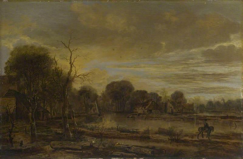 A River Landscape with a Village