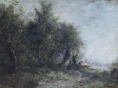 A Riverscape with a Man in a Boat on the River Bank