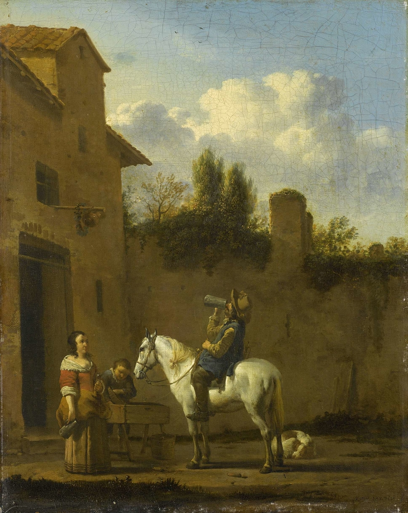 A Trumpeter on Horseback Drinking