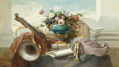 A Violin, Bagpipes, a Drum, a Music Score, and an Ormolu-Mounted Vase with Roses and Other Flowers on a Draped Ledge