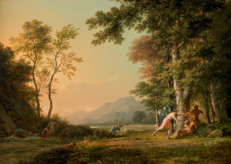 A Wooded Landscape with a Bacchic Scene