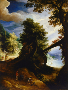 A wooded landscape with a bridge and sportsmen ...