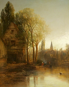 A Woodland Scene with Moat and Spire