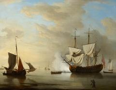 An English ship becalmed
