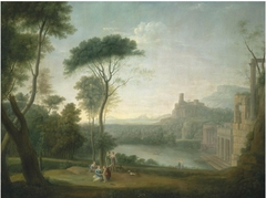 An extensive Italianate wooded landscape