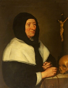 An Old Woman (a Beguine?)  with Crucifix and Skull