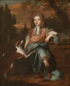 An Unknown Young Boy with a Dog
