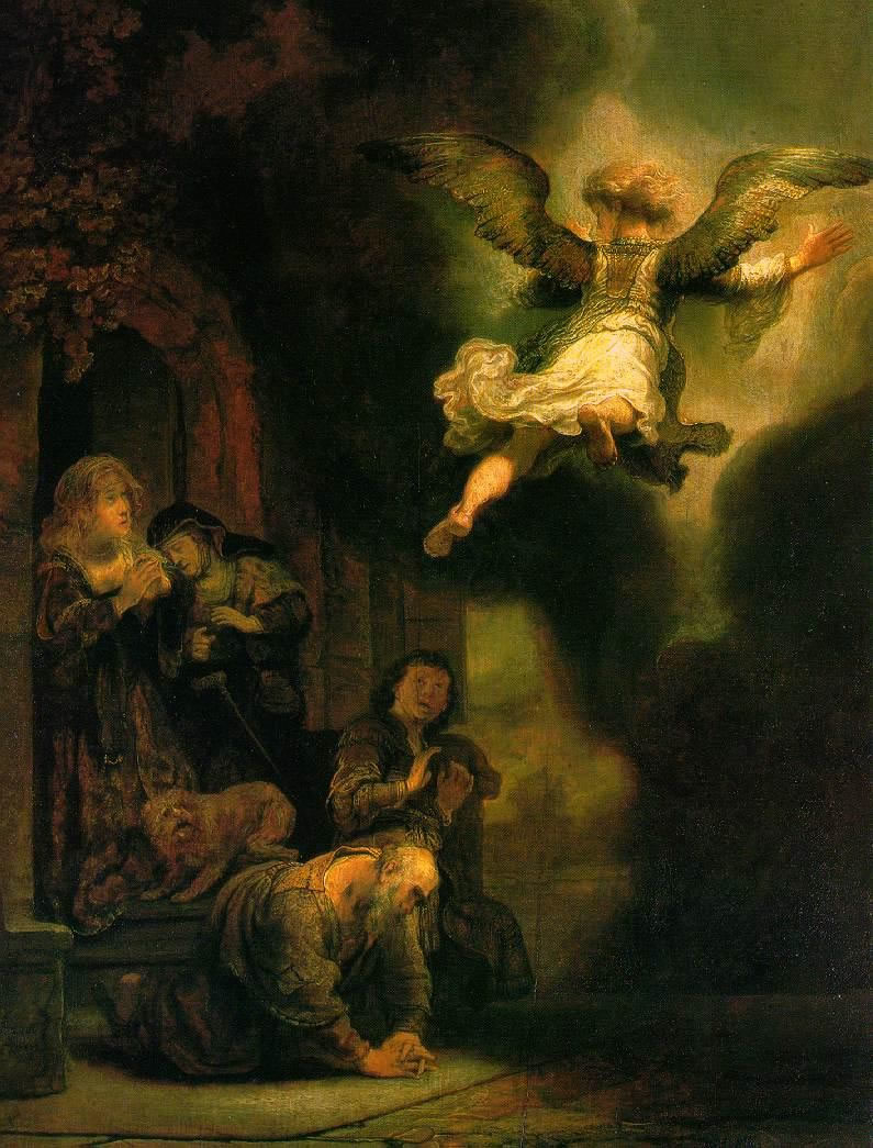 Archangel Raphael leaves the house of Tobit and Anna