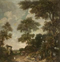 Behangselschildering van een Hollands landschap met een zandweg