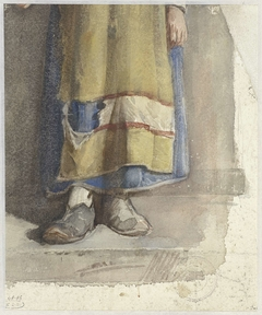 Benen en voeten van staande vrouwelijke figuur