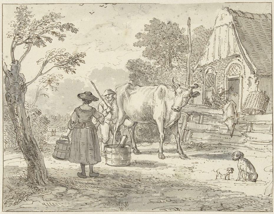 Boeren met een koe voor het huis
