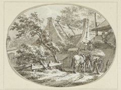 Boerenhuis met landlieden bij hooiwagen en hooiberg