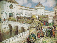 Book shops on the Spassky Bridge at the 17 century