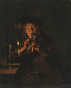 Boy Playing the Flute by Lamplight
