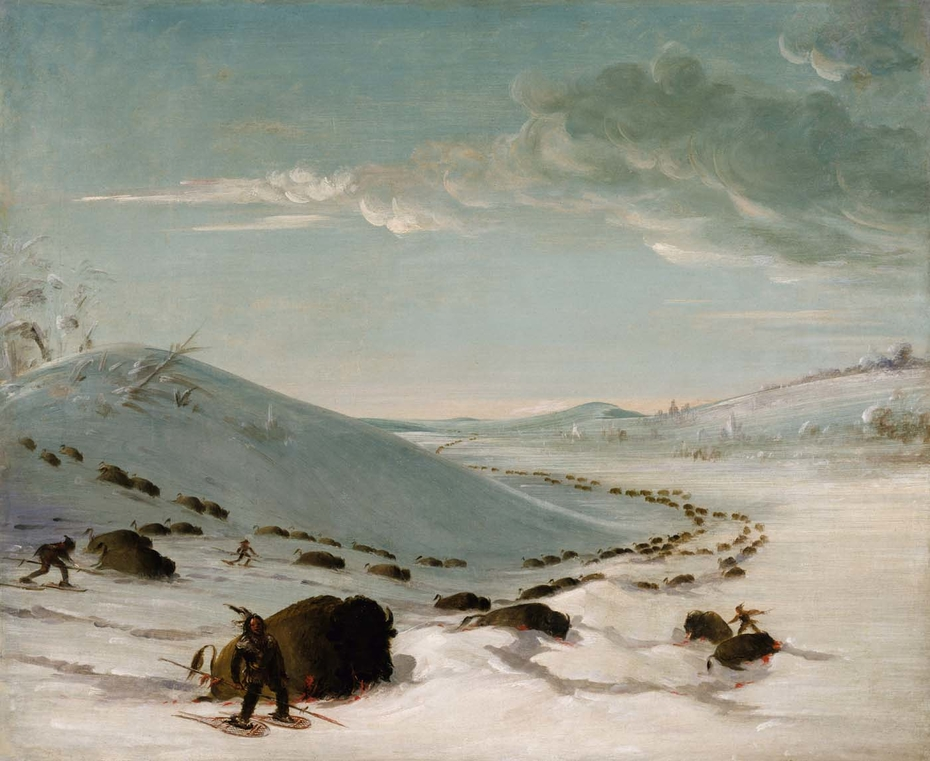 Buffalo Chase in Winter, Indians on Snowshoes