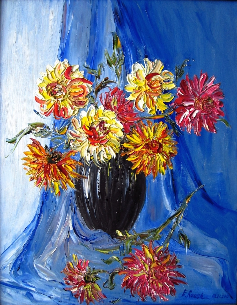 Dahlias on a Blue