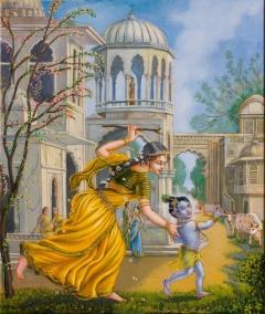 Damodar-Yashoda chasing after baby Krishna