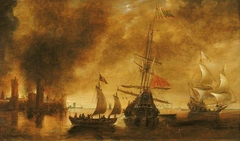 Daybreak after the bombardment of a port by Spanish ships